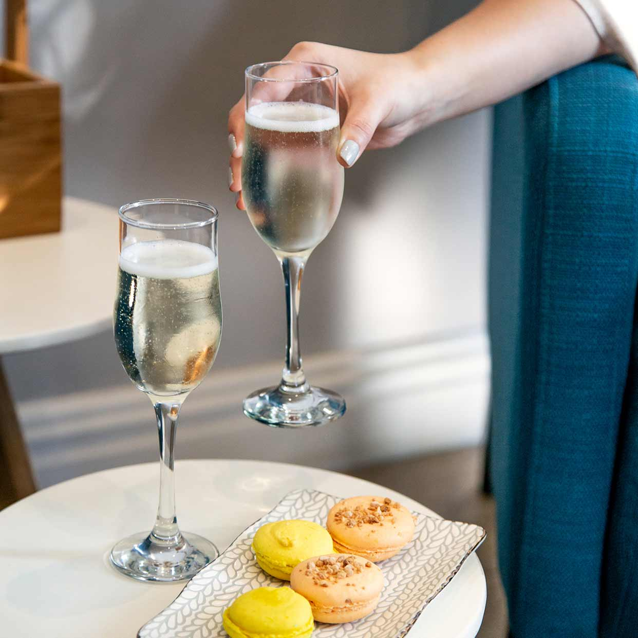 Champagne and macaroons